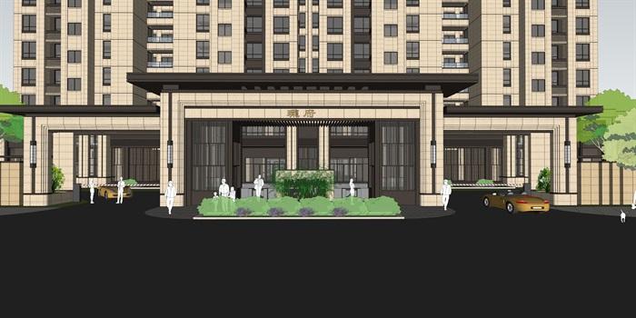 新亚洲风格建筑_新亚洲风格高端住宅小区建筑楼su模型[原创]