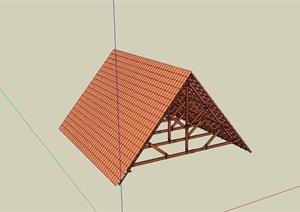 精致的防腐木屋顶素材SU(草图大师)模型