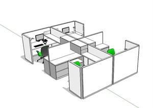 办公桌椅SU(草图大师)模型