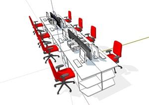 工作办公桌椅SU(草图大师)模型