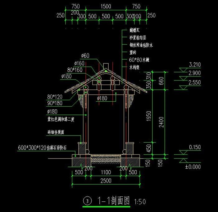 木结构仿古长廊cad施工图[原创]
