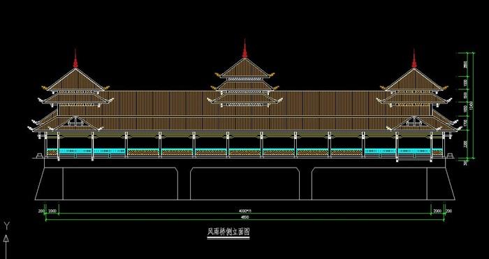 侗族风雨桥设计cad施工图[原创]