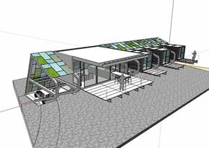 独特集装箱办公建筑SU(草图大师)模型