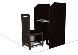 单独的办公桌椅SU(草图大师)模型