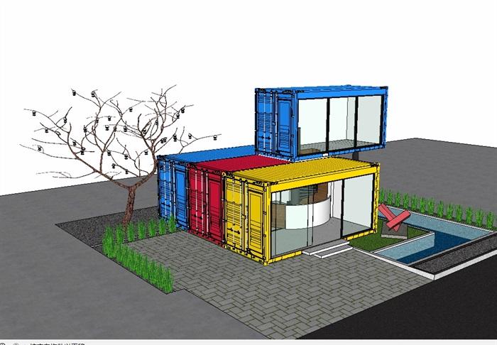 两层集装箱别墅设计su模型(1)