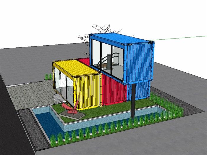 两层集装箱别墅设计su模型(2)