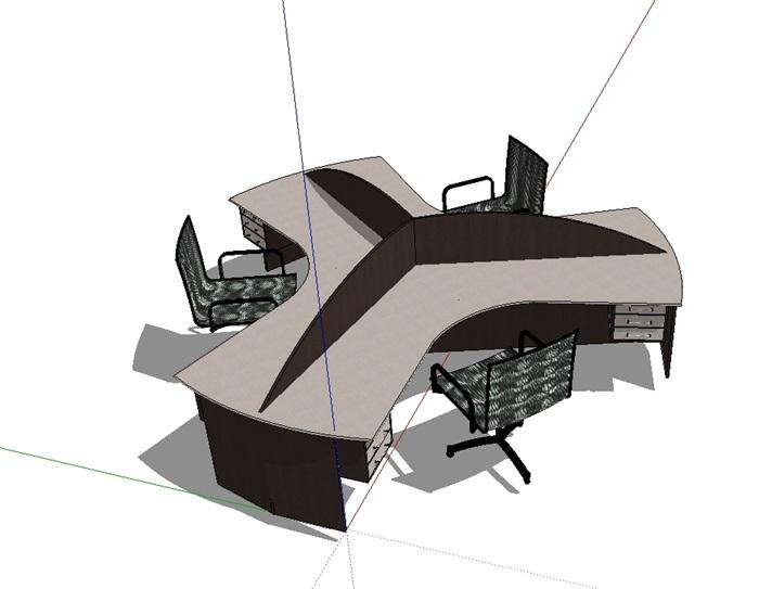 某室内详细办公桌椅素材设计su模型[原创]