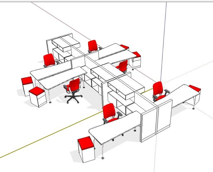 现代室内办公桌椅素材完整su模型[原创]