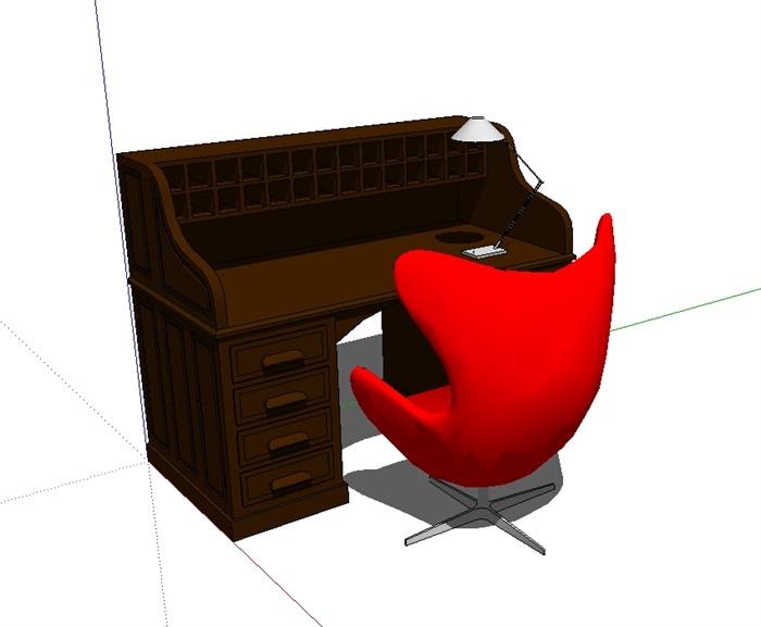 某新的室内办公桌椅素材设计su模型[原创]