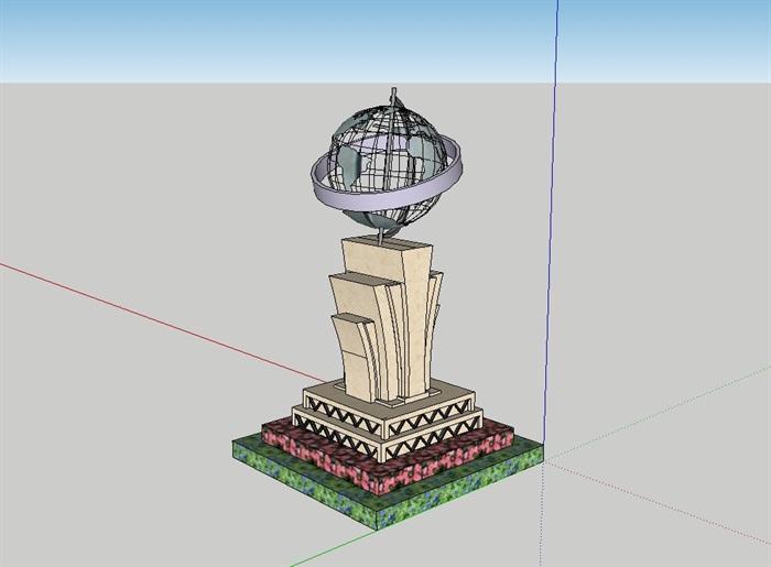 小品球形雕塑完整设计su模型(2)