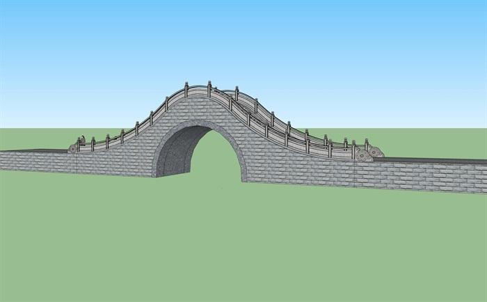 拱桥园桥素材设计su模型[原创]