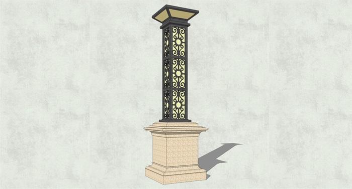 某现代详细景观灯柱素材设计su模型[原创]