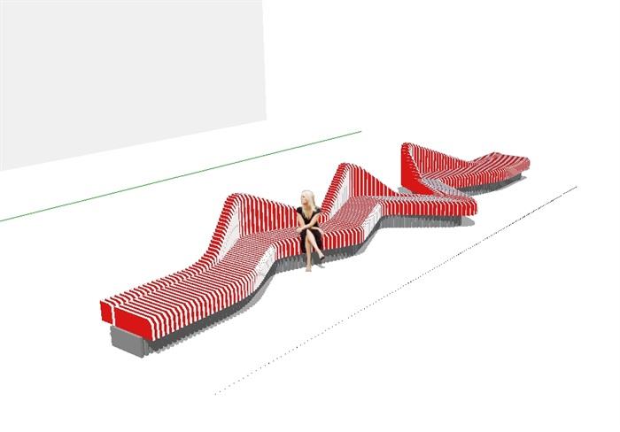 现代创意异形街长椅设计su模型[原创]图片