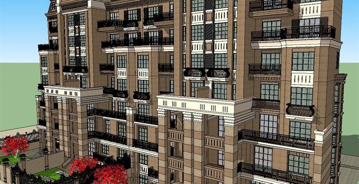 歐式高檔住宅樓建筑設計su模型[原創]
