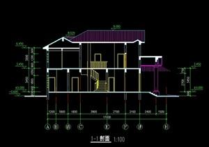 独栋简单别墅建筑设计cad方案