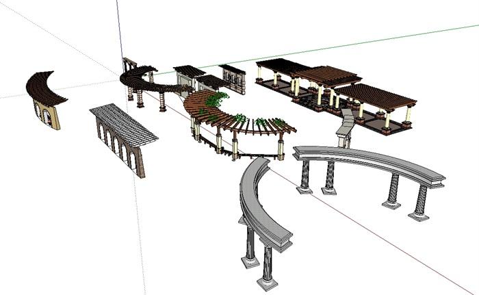 欧式廊架景观花架构架设计su模型[原创]