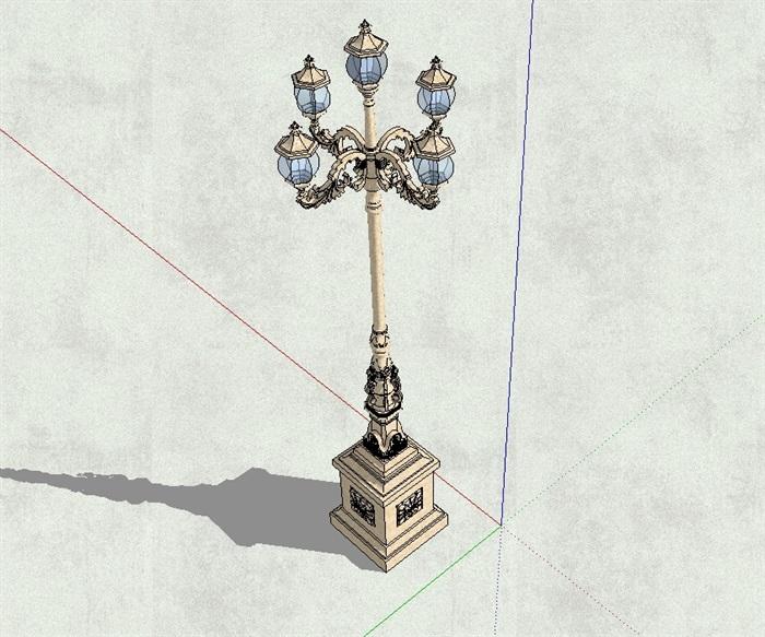 某欧式经典高杆路灯设计su模型(3)