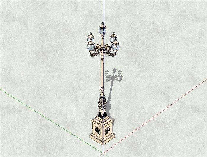某欧式经典高杆路灯设计su模型(2)