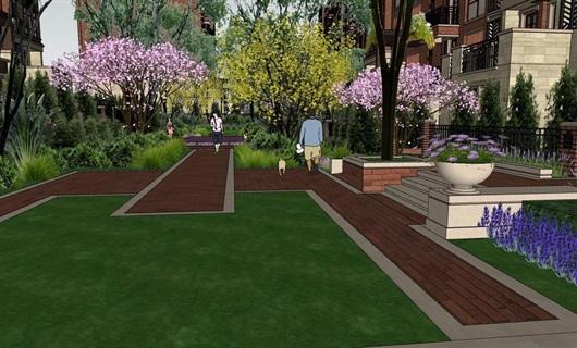英式洋房中庭景观设计
