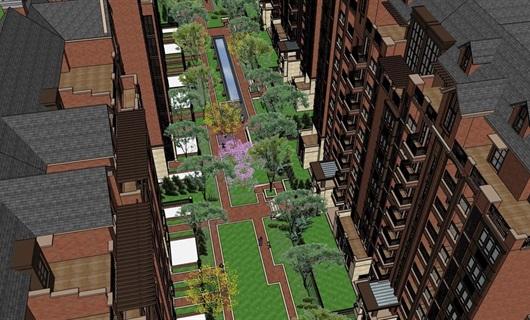 英式洋房折线中庭景观设计