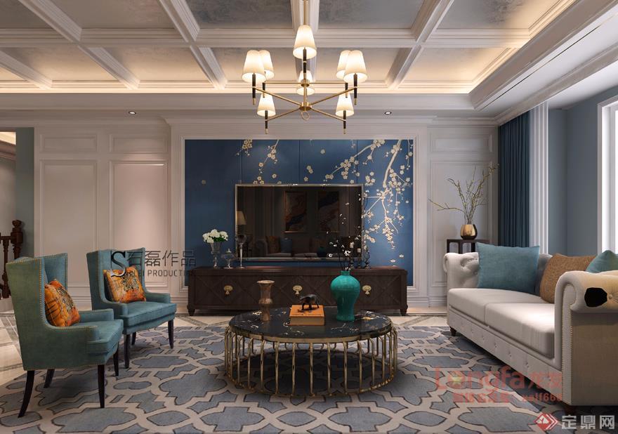 客厅 电视背景墙 美式轻奢 装修效果图 高科麓湾 复式