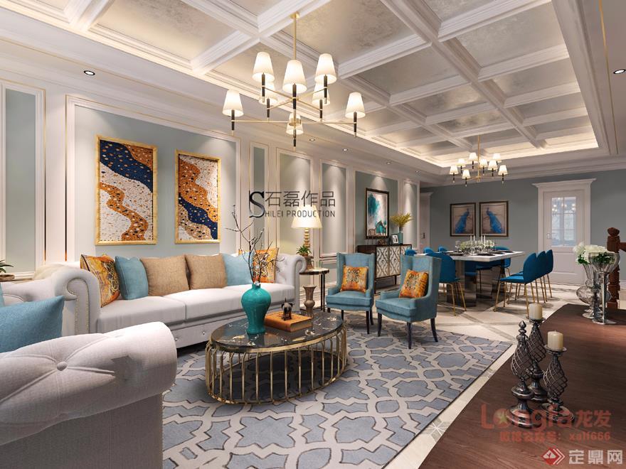 客厅 沙发背景墙 美式轻奢 装修效果图 高科麓湾 复式