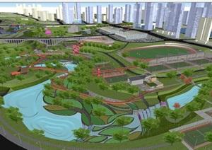 现代山地体育公园景观设计方案SU模型