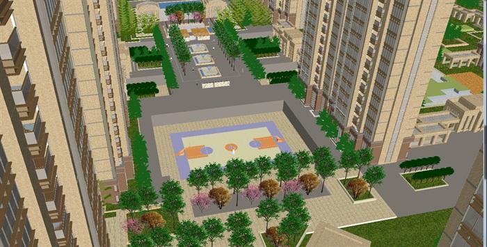 欧式小区建筑与景观划设计方案su模型[原创]