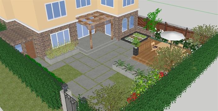 两个别墅庭院花园景观设计方案su模型[原创]