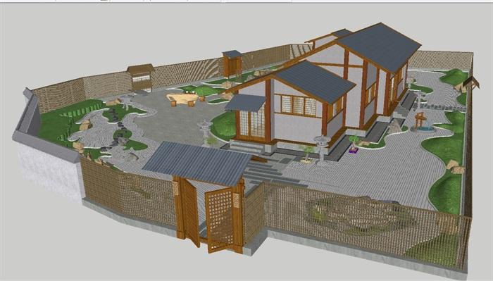 日式枯山水庭院花园与茶室su设计模型[原创]