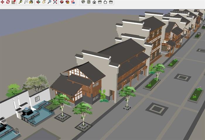 徽派中式古风商业街建筑与景观su设计模型[原创]图片