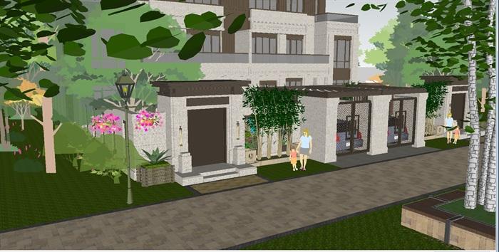 新中式典雅别墅带庭院景观su模型[原创]