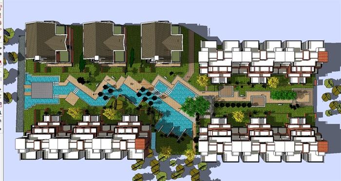 現代小高層小區建筑與景觀su設計模型[原創]