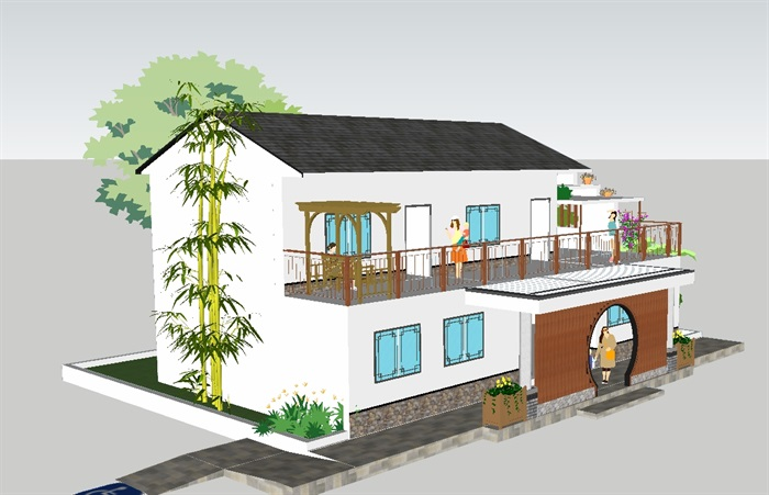 新中式景区厕所与管理处两层建筑方案su模型[原创]