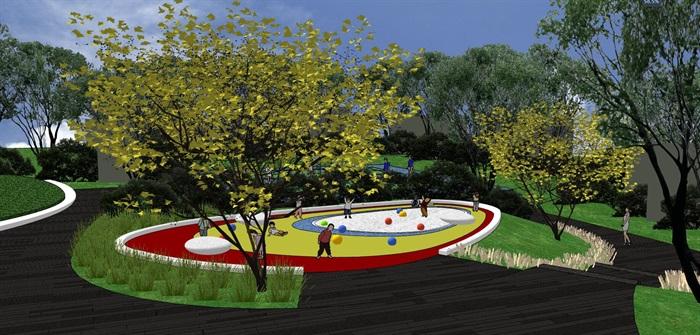 某现代龙湖度假中庭景观设计su模型