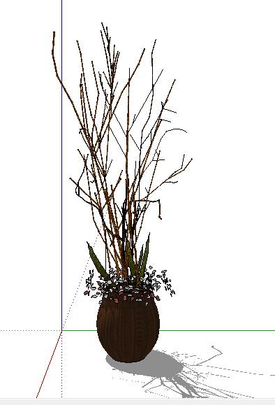 某室内独特枯树装饰品素材su模型[原创]