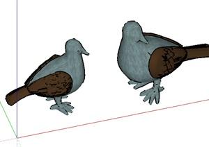 两只鸽子设计SU(草图大师)模型