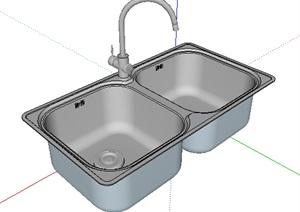 不锈钢双水槽设计SU(草图大师)模型