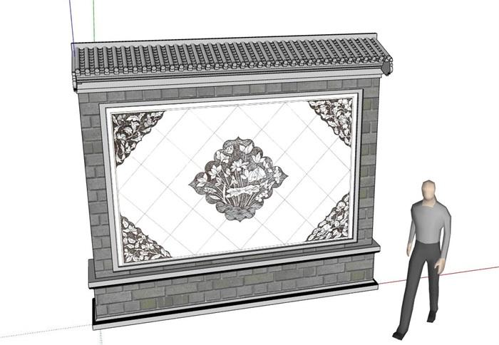 中式详细景墙素材su模型2017版本[原创]