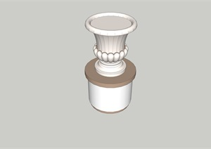 欧式风格详细完整的花钵小品设计SU(草图大师)模型