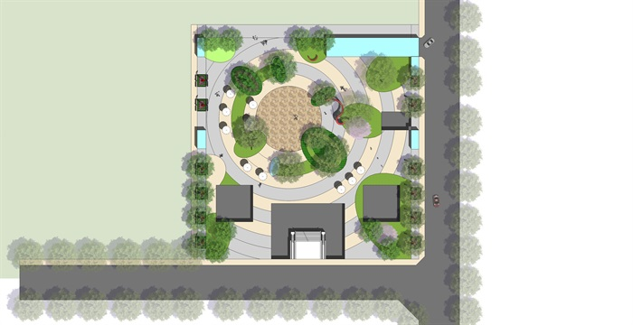 某小型廣場景觀設計psd方案