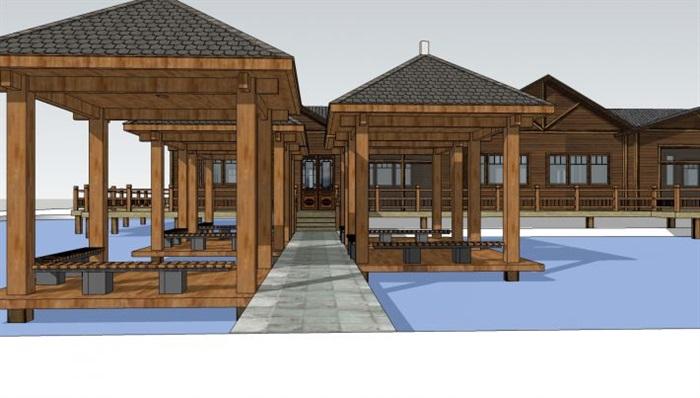 现代中式水上农家乐民宿建筑设计方案su模型[原创]图片