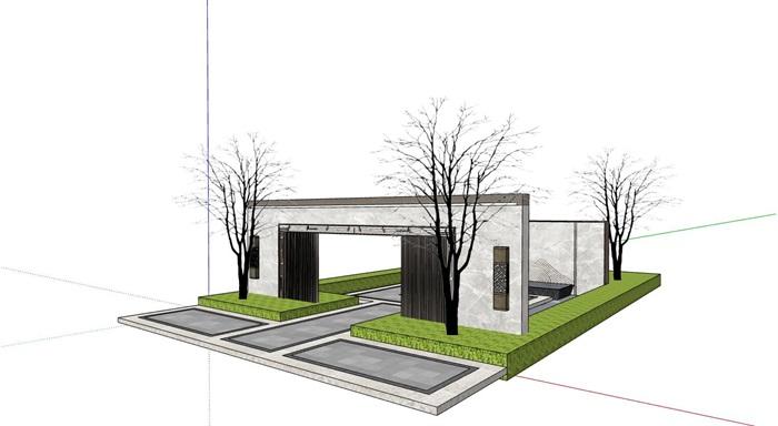 新亚洲中式景墙两个详细设计su模型[原创]