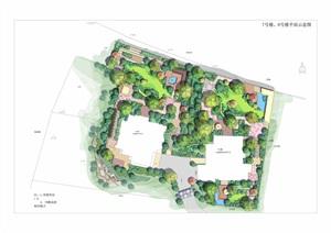园林景观住宅详细小区总平面图PSD源文件分层素材