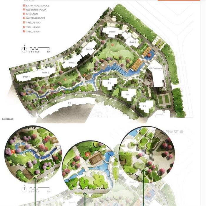 园林景观住宅景观彩色总平面图psd源文件分层素材