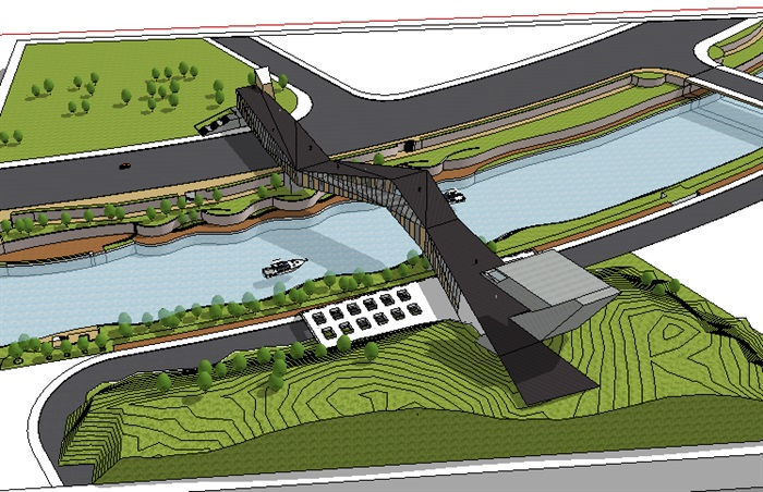 蛇景观线形桥素材设计su模型构设计源图片