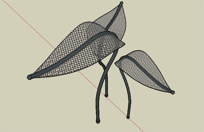 树叶雕塑小品素材设计su模型[原创]