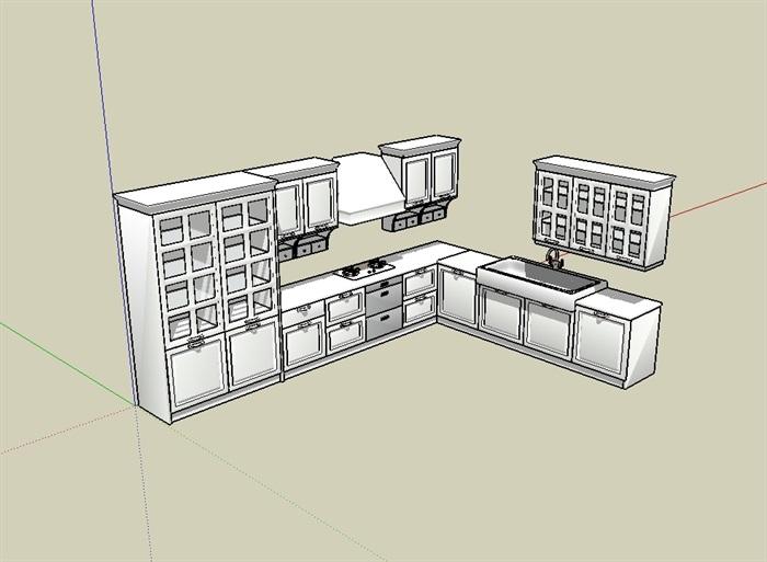 无材质贴图橱柜素材设计su模型[原创]