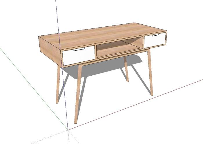 现代详细完整的木质桌子素材设计su模型[原创]