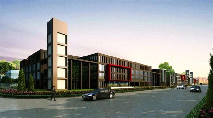 现代风格工业园区办公建筑su模型
